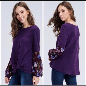 Purple waffle print top with scarf sleeves